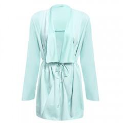 Fashionable Turn-down Collar Long Sleeve Soft Smoo LIGHT GREEN L