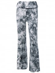 Fashionable High Waist Tie Dye Loose-Fitting Pants BLACK GREY L