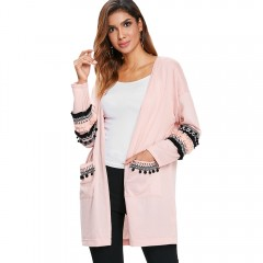 Pockets Open Front Embroidered Cardigan LIGHT PINK L