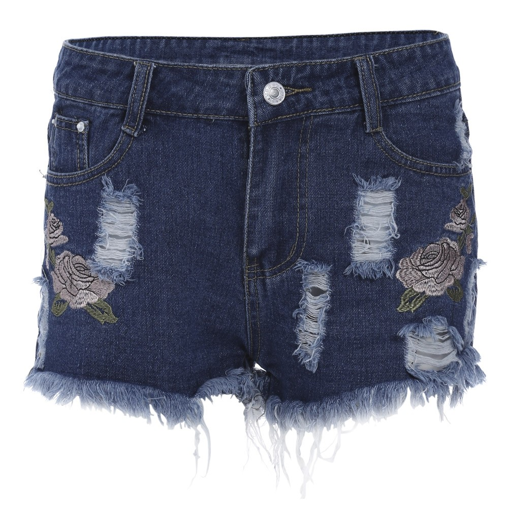 360361840dc23 Stylish High Waist Floral Embroidery Ripped Frayed DENIM BLUE XL ...