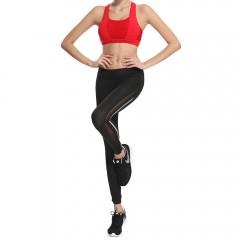 Mesh Panel See Thru Gym Running Leggings WHITE AND BLACK S