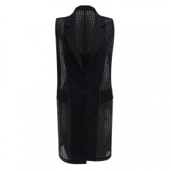 Trendy Lapel Sleeveless Hollow Out Button Vest for BLACK ONE SIZE(FIT SIZE XS TO M)