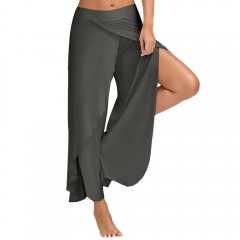 High Slit Flowy Layered Palazzo Pants DEEP GRAY S
