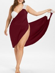 Plus Size Lace Straps Cover-up Dress RED WINE 2X