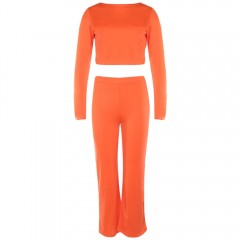 Fashion Solid Suits Backless Short Tops Cropped Tr ORANGE RED M