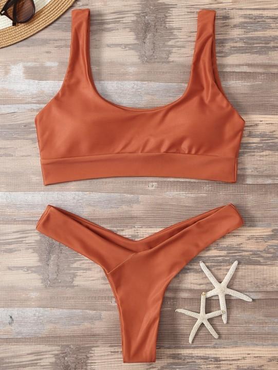 6449b3f52c High Cut Sporty Two Piece Swimsuit ORANGE RED L   Kilimall Kenya
