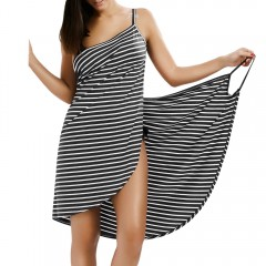 Striped Open Back Multiway Wrap Cover-ups Dress GRAY XL