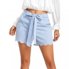 High Waisted Bowknot Scalloped Shorts SKY BLUE S