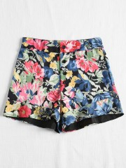 Floral Print Button Fly High Waisted Shorts MULTI S