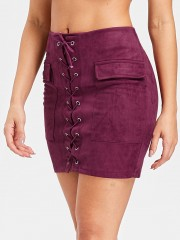 Faux Suede Slim Fitted Skirt BURNT PINK XL