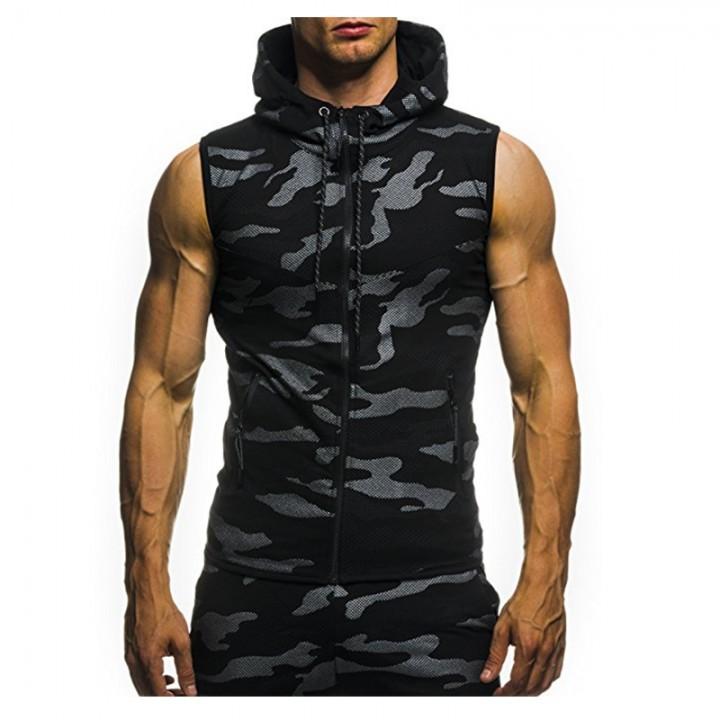 2018 New Camouflage Digital Printing Zipper Casual BLACK M