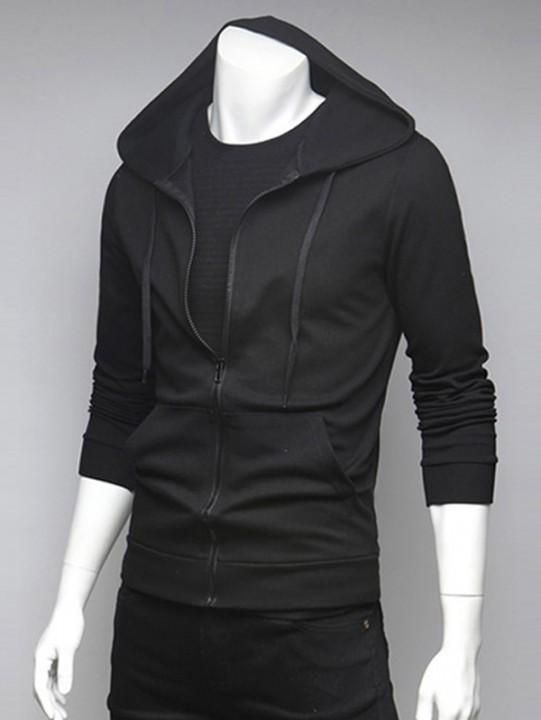 Spliced Pocket Drawstring Hoodie BLACK 2XL