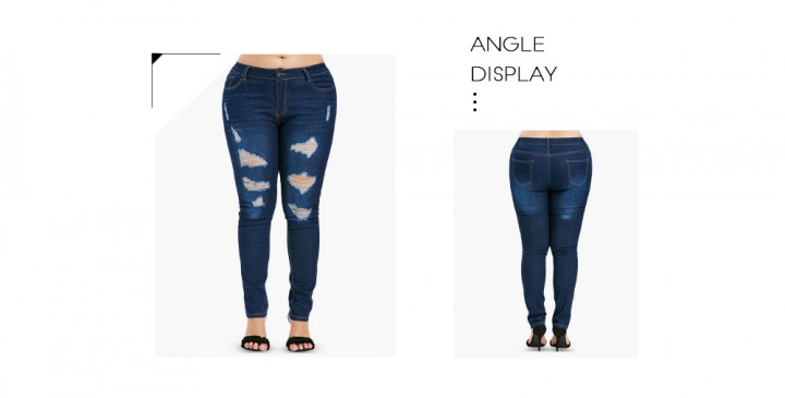 488cbea9acb07 Plus Size Zipper Fly Ripped Jeans DENIM DARK BLUE 4X   Kilimall Kenya