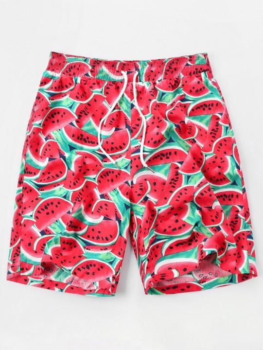 Watermelon Print High Waist Shorts RED XL