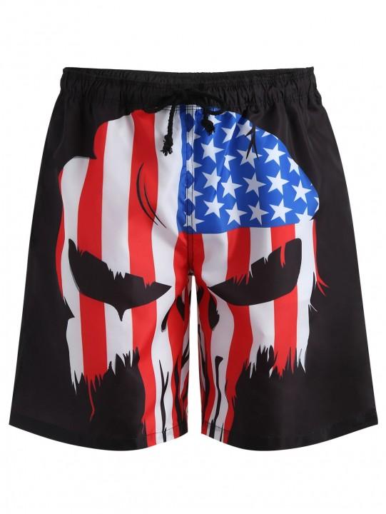 American Flag Drawstring Swim Trunks BLACK XS