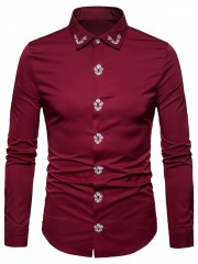 Embroidered Turndown Collar Shirt RED WINE XL