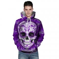 3D Digital Skull Print Pullover Hoodie PURPLE 3XL