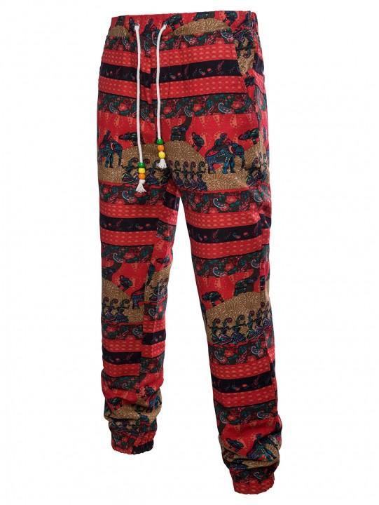 Narrow Feet Elephant Striped Ethnic Style Sweatpan MULTI 4XL