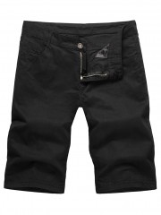 Zip Fly Solid Color Bermuda Shorts BLACK L