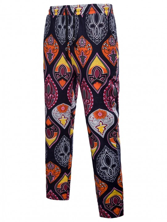 Floral Print Drawstring Waist Casual Pants MULTI XL