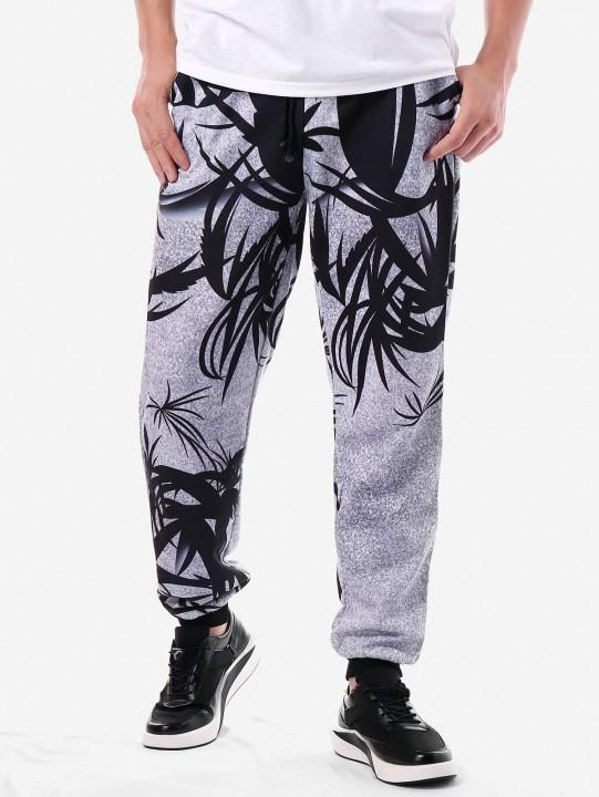 Leaf Print Drawstring Jogger Pants LIGHT GRAY 2XL