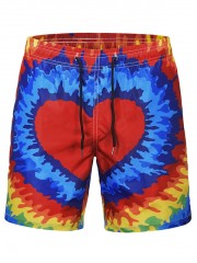 Heart Print Quick Dry Beach Short MULTI 2XL