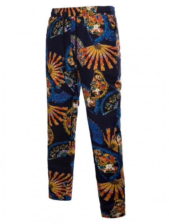 Drawstring Ethnic Fan Print Pants ORANGE GOLD M