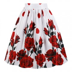 High Waist Rose Print Skirt RED WINE S