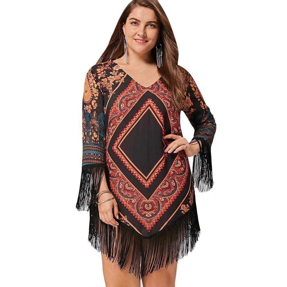 9984b8ebe5876 Plus Size Tribal Printed Chiffon Tassel Dress FLORAL 2XL  Product No   2881100. Item specifics  Seller SKU C6PDSPMKR  Brand