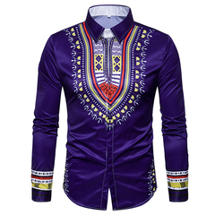 COCOCICI Fastion Men's National Style Printing 3D fashion leisure large size slim long sleeve shirts DEEP BLUE L