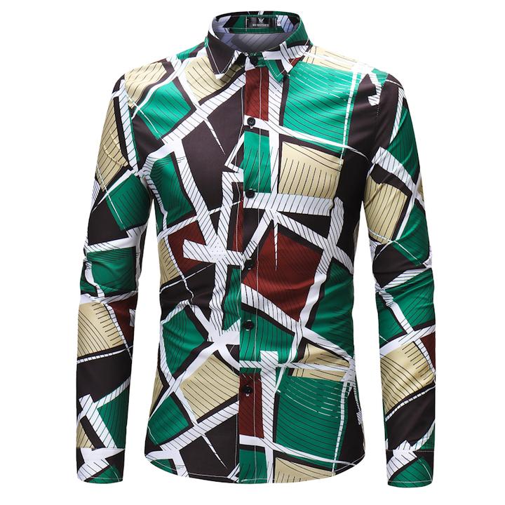 COCOCICI Fastion Men Colthe Shirt Colorful Block Stripe Geometric Printing fashion Long Sleeve Shirt MULTI S