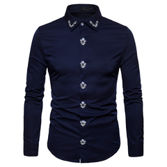 COCOCICI Men's Fashion Embroidered Solid Color Shirt Large Size Slim Long Sleeve Shirt deep blue xl