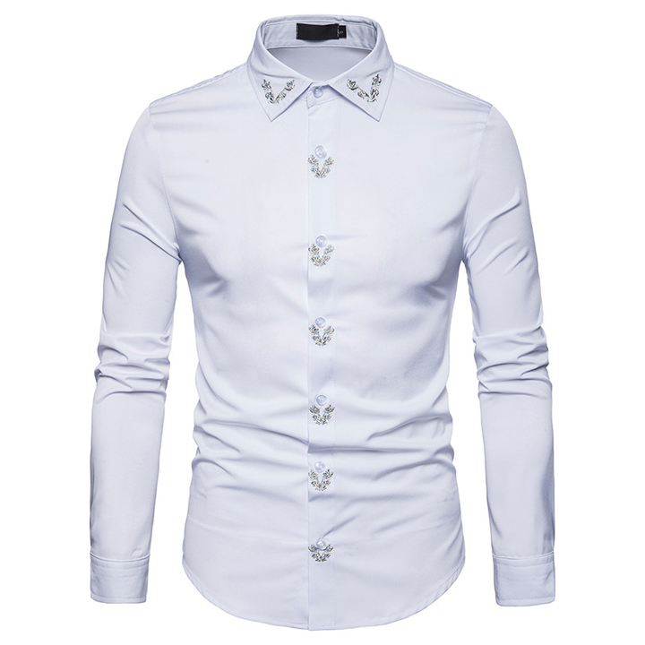 COCOCICI Men's Fashion Embroidered Solid Color Shirt Large Size Slim Long Sleeve Shirt white s