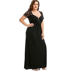 COCOCICI Women Fastion dress Plus Size lace short sleeve stitching V - neck mid - waist long dresses 2XL black