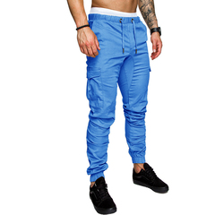 COCOCICI Fastion Men Trouser Side Pockets Elastic Cuffed Jogger Pants multiple pockets casual pants Light blue 3XL