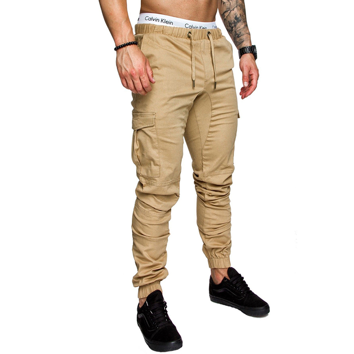 COCOCICI Fastion Men Clothes Trouser Side Pockets Elastic Cuffed Jogger Pants Khaki M