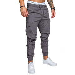 COCOCICI Fastion Men Clothes Trouser Side Pockets Elastic Cuffed Jogger Pants Gray L