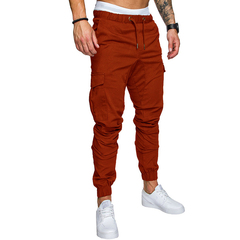 COCOCICI Fastion Men Trouser Side Pockets Elastic Cuffed Jogger Pants multiple pockets casual pants Brown L