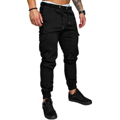 COCOCICI Fastion Men Clothes Trouser Side Pockets Elastic Cuffed Jogger Pants Black L