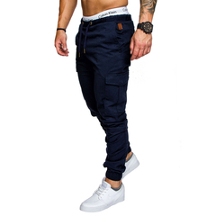 COCOCICI Fastion Men Trouser Side Pockets Elastic Cuffed Jogger Pants multiple pockets casual pants Deep blue M