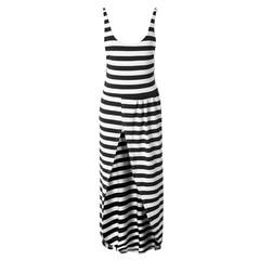 Maxi Striped Open Back Slit Cami Dress WHITE AND BLACK XL