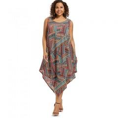 Sleeveless Plus Size Ethnic Print Asymmetrical Dre MULTI 4X xl MULTI