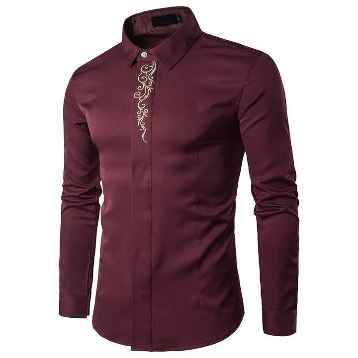 COCOCICI Men Fashion Embroidery Multicolor Base Printing Shirt Large Size Slim Long Sleeve Shirt red wine m