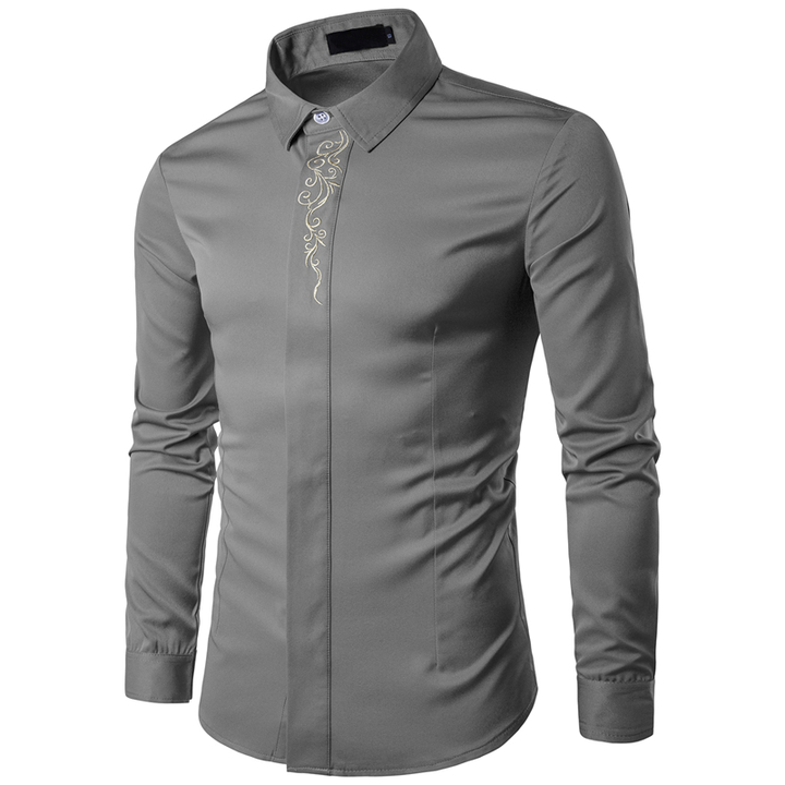 COCOCICI Men Fashion Embroidery Multicolor Base Printing Shirt Large Size Slim Long Sleeve Shirt gray m