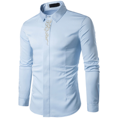 COCOCICI Men Fashion Embroidery Multicolor Base Printing Shirt Large Size Slim Long Sleeve Shirt blue 2xl
