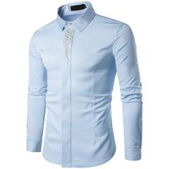 COCOCICI Men Fashion Embroidery Multicolor Base Printing Shirt Large Size Slim Long Sleeve Shirt blue 2xl