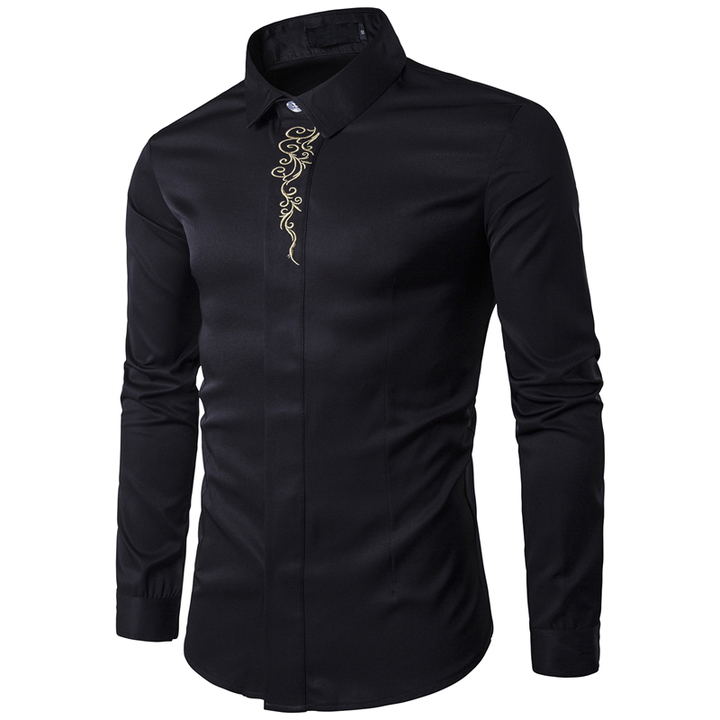 COCOCICI Men Fashion Embroidery Multicolor Base Printing Shirt Large Size Slim Long Sleeve Shirt black 2xl