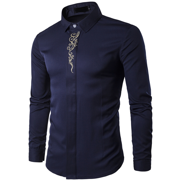 COCOCICI Men Fashion Embroidery Multicolor Base Printing Shirt Large Size Slim Long Sleeve Shirt Navy s