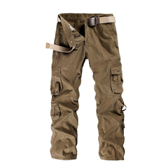 COCOCICI Men Fashion Trousers Multi-pocket Men's Workwear Casual Pants Cotton Casual Overalls brown 36