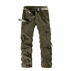 COCOCICI Men Fashion Trousers Multi-pocket Men's Workwear Casual Pants Cotton Casual Overalls armygreen 31